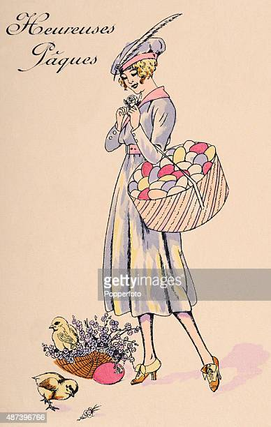 A vintage postcard illustration featuring a stylish young woman riding a bell and holding a large hatbox of Easter eggs with chicks underfoot...