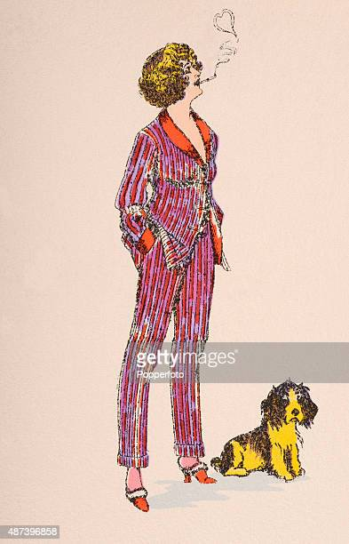 A vintage postcard illustration featuring a stylish young woman smoking a cigarette and wearing a trouser suit with a small dog bringing Vallentine...