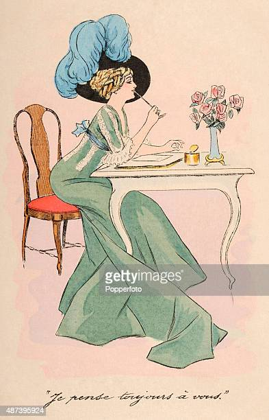 A vintage postcard illustration featuring a stylish young woman wearing a plumed hat and composing a love letter at a writing table circa 1890