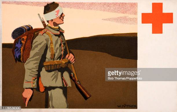 A vintage postcard illustration featuring a wounded German soldier in full military uniform with the emblem of the International Red Cross during...