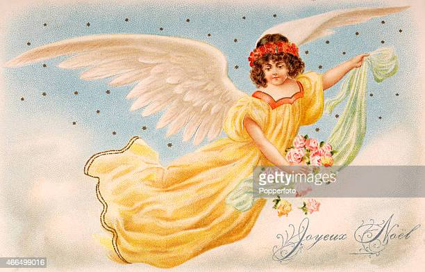 A vintage postcard illustration featuring a young angel bringing Christmas greetings and dropping flowers from her robe circa 1905