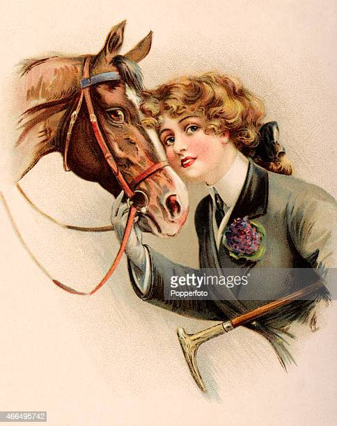 A vintage postcard illustration featuring a young horsewoman in riding gear with her horse circa 1913