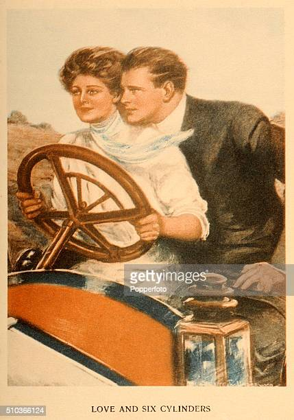 A vintage postcard illustration featuring a young lady at the wheel of a vintage automobile with a young man as her passenger over the caption Love...