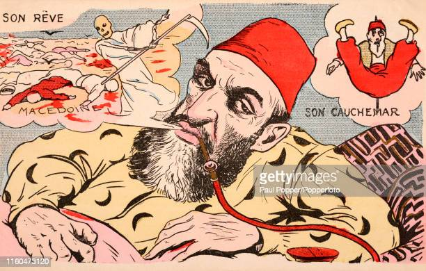 A vintage postcard illustration featuring AbdulHamid II Sultan of the Ottoman Empire smoking a hookah and featuring both a dream and a nightmare...