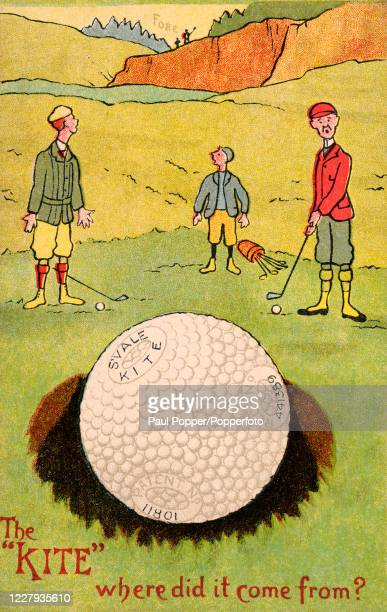 Vintage postcard illustration featuring an advertisement for the Kite golf ball, resoundingly hit over the heads of three golfers by a golfer...