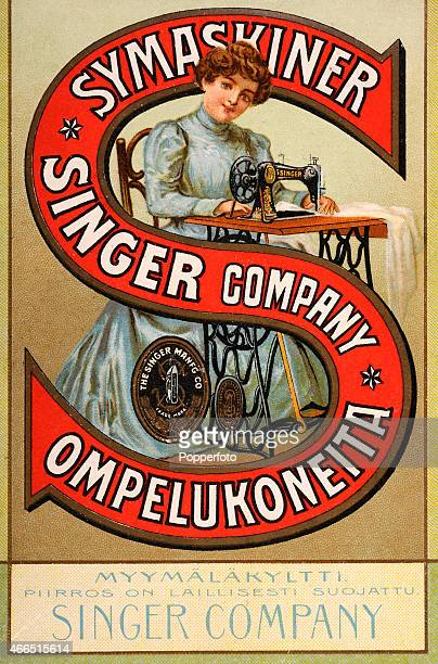 A vintage postcard illustration featuring an advertisement with Singer sewing machines with a young lady at her sewing table published in Finland...