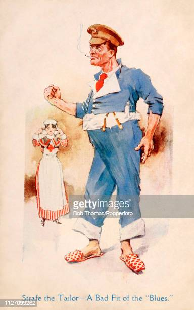A vintage postcard illustration featuring an angry Hospital Blue a World War One British casualty whose uniform doesn't fit with a Red Cross nurse in...