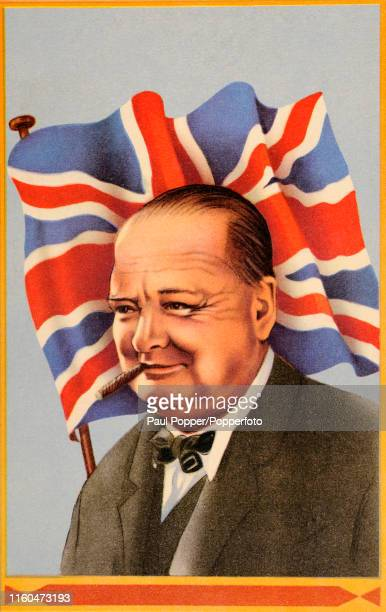 A vintage postcard illustration featuring British Prime Minister Winston Churchill during World War Two smoking a cigar and backed by the Union Jack...
