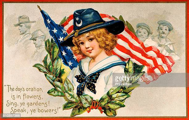 A vintage postcard illustration featuring greetings for Decoration Day a Memorial Day holiday in the United States remembering those who died while...