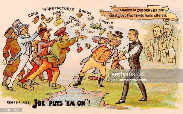 Vintage postcard illustration featuring international political discord over tariff reform law and an end to Free Trade, with reference to Richard...