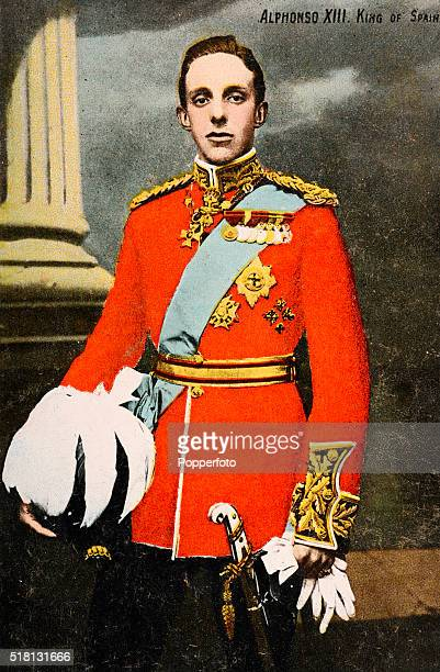 Vintage postcard illustration featuring King Alphonso XIII of Spain, circa 1910.
