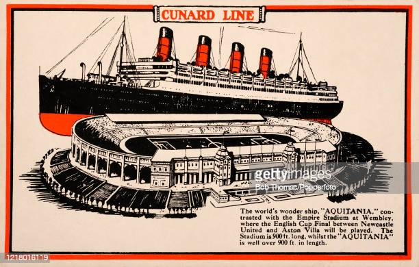 Vintage postcard illustration featuring the comparative lengths of the Cunard Line's Aquitania contrasted with the Empire Stadium at Wembley where...