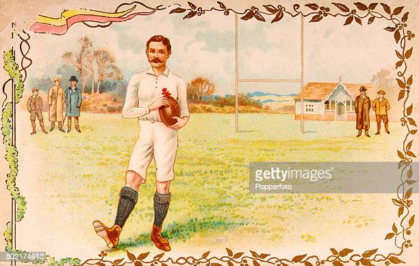 A vintage postcard illustration featuring the England and British Lions rugby international James Frederick Byrne A fullback Byrne played his initial...