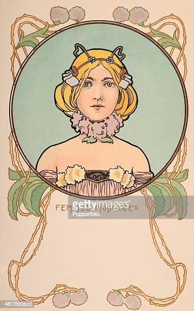 A vintage postcard illustration featuring the head and shoulders of a modern woman in the Art Nouveau style circa 1905