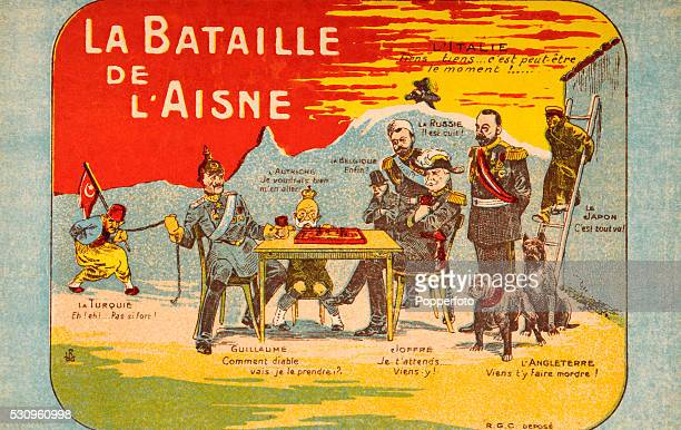 A vintage postcard illustration featuring the major participants in the first Battle of the Aisne during World War One circa September 1914