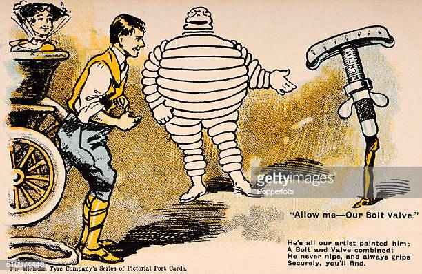 A vintage postcard illustration featuring the Michelin Man advertising their Bolt Valve including two motorists a vintage automobile and a poem...