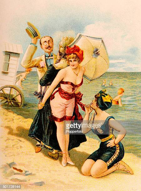 A vintage postcard illustration featuring two bathing beauties protected from the attentions of a welldressed gentleman by an older lady whilst on...