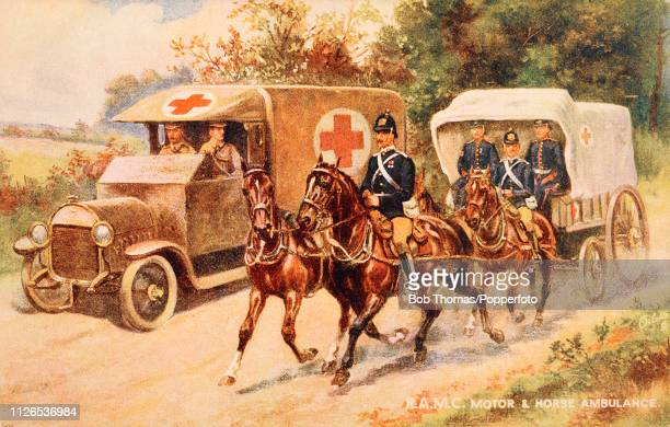 A vintage postcard illustration featuring two means of transport used by the Royal Army Medical Corps a motorised ambulance and horses pulling an...