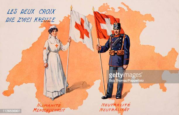 A vintage postcard illustration featuring two similar flags during World War One with a nurse holding the Red Cross and a soldier of neutral...