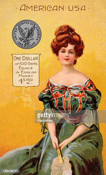 A vintage postcard illustration of a young American woman in national dress with an American dollar and an explanation of its equivalent in English...