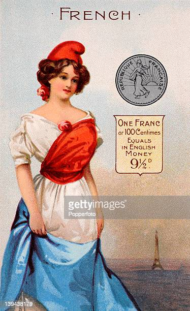 A vintage postcard illustration of a young Frenchwoman in national dress with a French franc and an explanation of its equivalent in English currency...