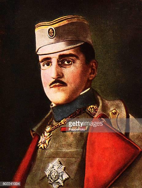 A vintage postcard illustration of Alexander I of Yugoslavia circa 1925