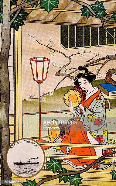 A vintage postcard illustration of the SS Iyo Maru in a medallion superimposed on a scene with a geisha in a Japanese landscape circa 1910