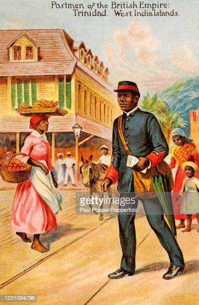 """Vintage postcard illustration titled """"Postmen of the British Empire"""", featuring a postman of Trinidad, West Indies, in uniform, delivering letters in..."""