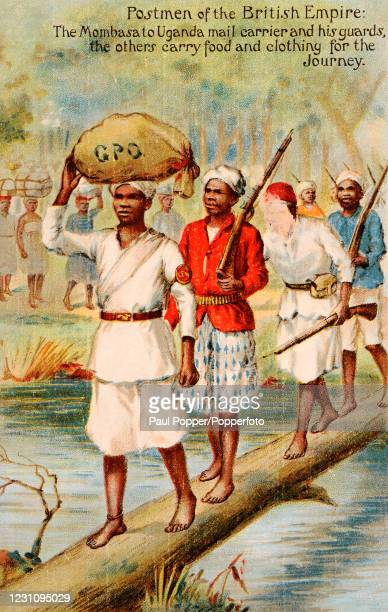 """Vintage postcard illustration titled """"Postmen of the British Empire"""", featuring the Mombasa to Uganda mail carrier with his guards and porters..."""