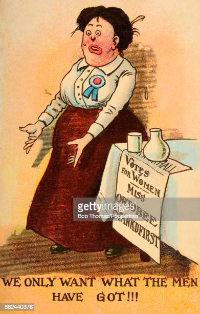 A vintage postcard lampooning the Suffragette movement with the poster for Miss Ortobee Spankdfirst a clear chauvinistic reference to the leader of...