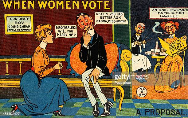 A vintage postcard lampooning the Women's RightToVote movement featuring a reversal of women's and men's roles at the time circa 1908