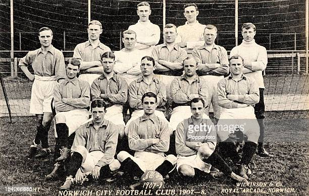 Vintage postcard of the Norwich City football team published by Wilkinson Co prior to the 190708 season Back row Roney Thompson Next row standing...