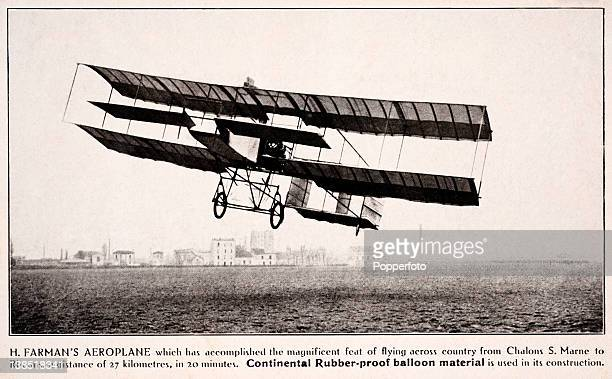 Vintage postcard photograph of Henri Farman piloting the aeroplane which he flew from Chalons St Marne to Rheims in France, a distance of 27...