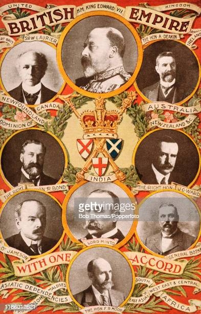 A vintage postcard photographic montage advertising Nestle's milk and featuring the countries and some of the leaders of the British Empire nations...