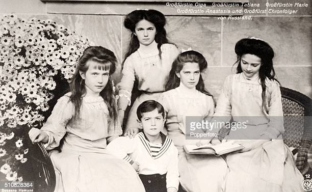 A vintage postcard published circa 1910 featuring the five children of Tsar Nicholas II and Queen Alexandra of Russia left to right Grand Duchesses...
