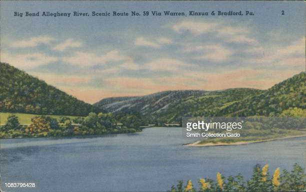 Vintage postcard reproduction of the Big Bend Allegheny River scenic Route No59 via Warren Kinzua and Bradford Pennsylvania 1930