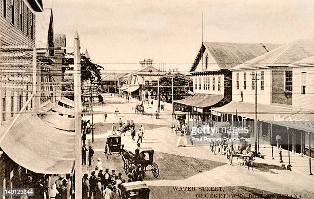 A vintage postcard showing Water Street in Georgetown British Guiana circa 1910 British Guiana became Guyana after gaining Independence from the...