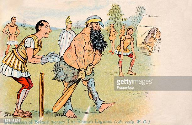 Vintage postcard with an illustration featuring an historic game of cricket between the Gentlemen of Britain and the Roman Legions the batsman...