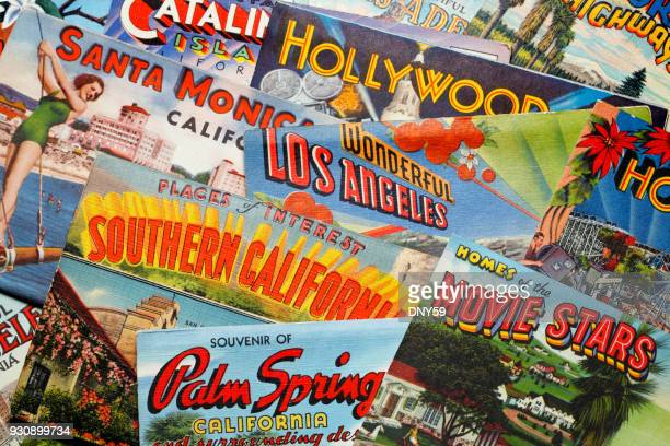 vintage postcards from los angeles area - hollywood california stock pictures, royalty-free photos & images