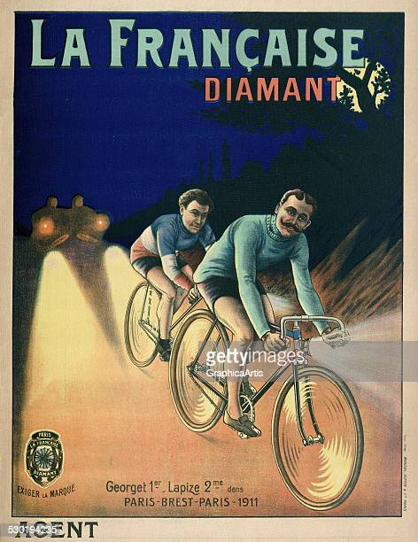 Vintage poster for Diamant bicycles, with Emile Georget winning a Tour de France stage for the French cycling team , 1911.