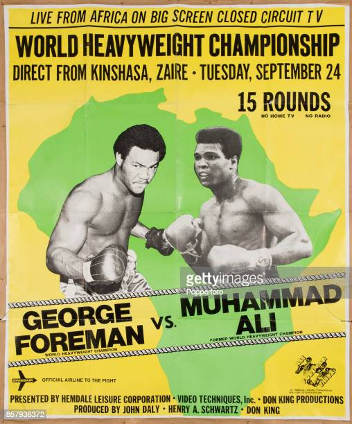 A vintage poster for the closedcircuit screenings of 'The Rumble in the Jungle' the world heavyweight boxing championship match between Muhammad Ali...