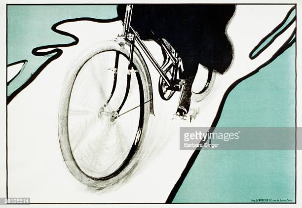 Vintage poster of bicycle wheel in motion