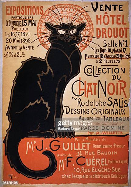 Vintage poster of black cat on a red wall