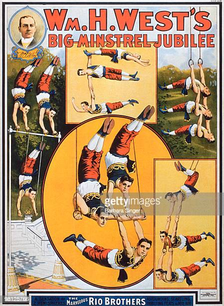 Vintage poster of circus acrobats performing tricks