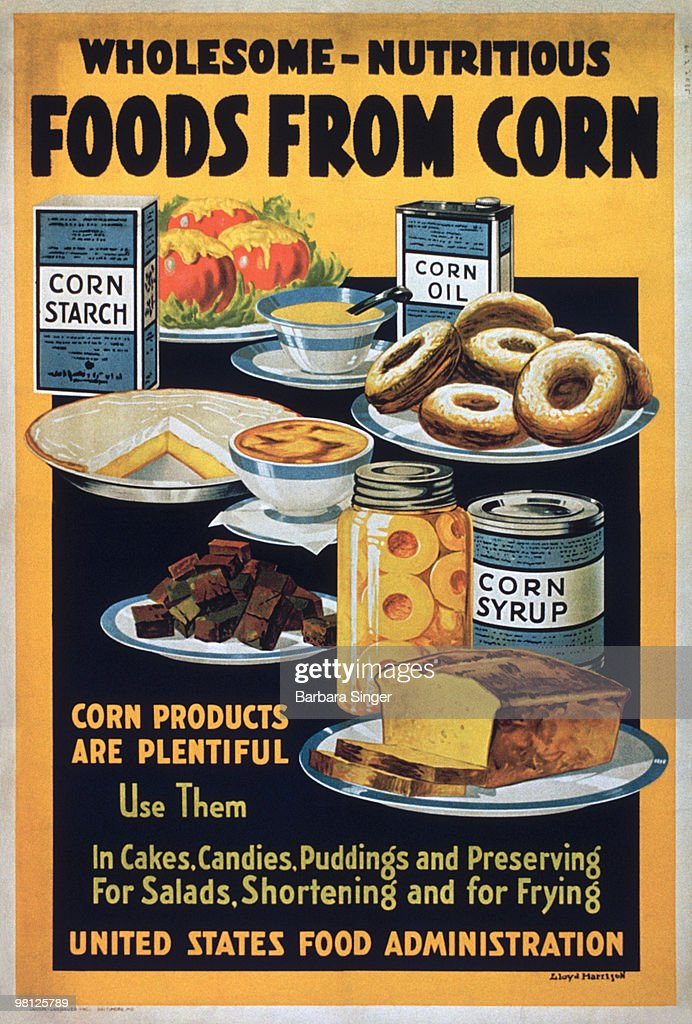 Vintage poster of corn products : Stock Photo