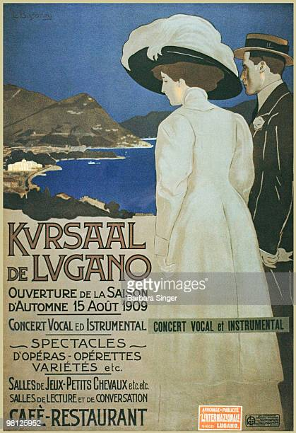 Vintage poster of couple looking out to village at night