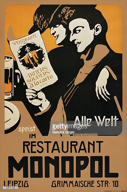 Vintage poster of couple reading menu at restaurant