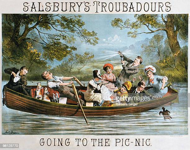 Vintage poster of elegant people sitting in rowboat