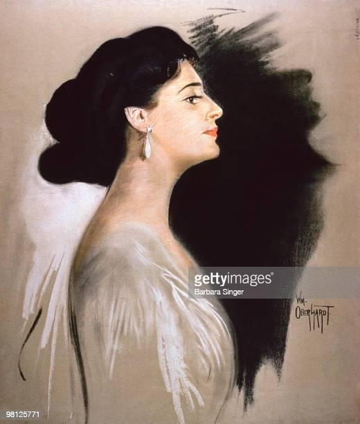 Vintage poster of elegant woman in profile