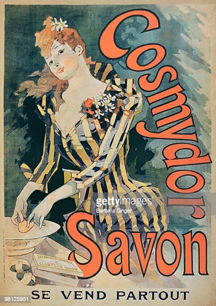 Vintage poster of elegant woman using soap